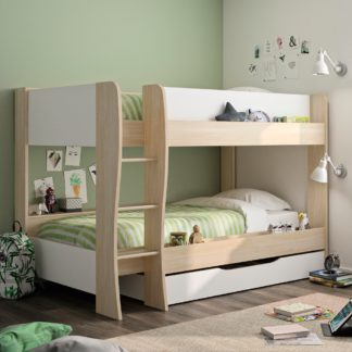 An Image of Roomy Oak and White Wooden Bunk Bed With Storage Drawer Frame - EU Single