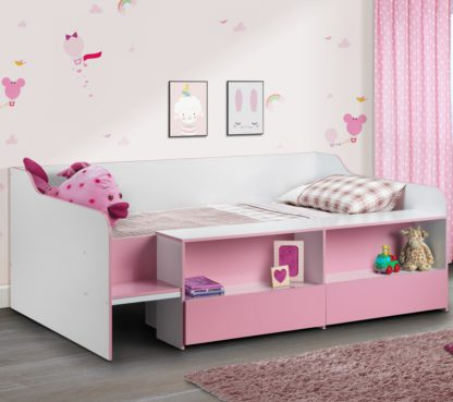 An Image of Stella Pink and White Wooden Kids Low Sleeper Cabin Storage Bed Frame - 3ft Single