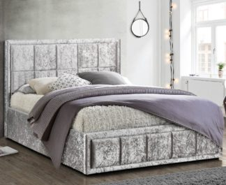 An Image of Hannover Steel Velvet Fabric Bed Frame - 4ft Small Double