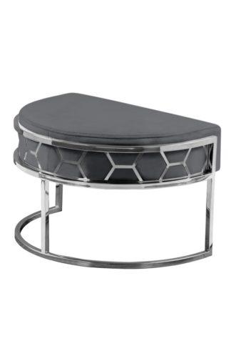 An Image of Alveare Footstool Silver - Smoke Grey
