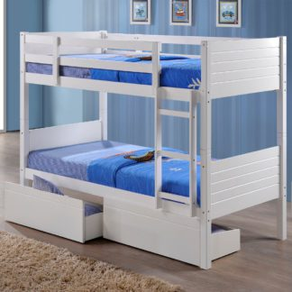 An Image of Bedford White Wooden 2 Drawer Storage Bunk Bed Frame - 3ft Single
