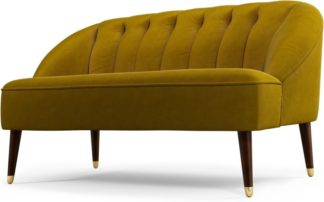 An Image of Custom MADE Margot 2 Seater Sofa, Antique Gold Cotton Velvet with Dark Wood Brass Leg