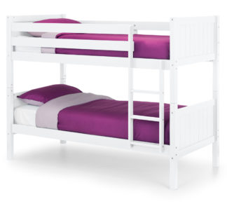 An Image of Bella White Wooden Bunk Bed Frame - 3ft Single