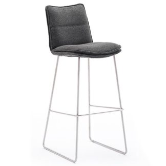 An Image of Ciko Fabric Bar Stool In Anthracite With Brushed Steel Legs