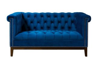 An Image of Bergmann Two Seat Sofa - Navy Blue