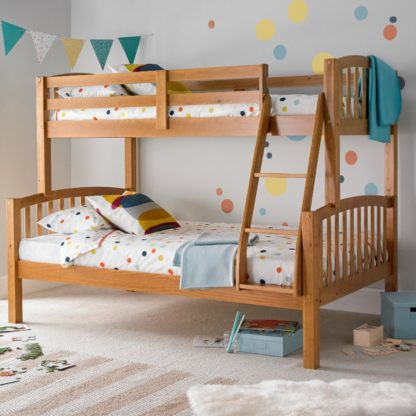 An Image of American Pine Wooden Triple Sleeper Bunk Bed Frame - 3ft Single Top and 4ft Small Double Bottom
