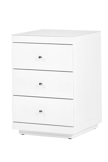 An Image of Pimlico White Glass Bedside Table with 3 Drawers