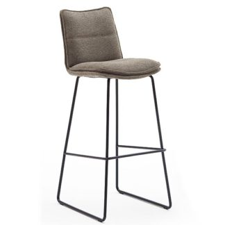 An Image of Ciko Fabric Bar Stool In Cappuccino With Matt Black Steel Legs