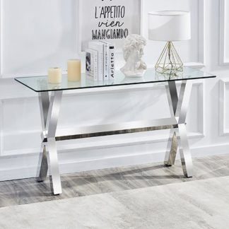 An Image of Crossley Rectangular Clear Glass Console Table