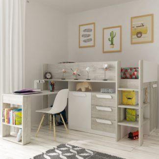 An Image of Girona White and Oak Wooden Mid Sleeper Frame - EU Single