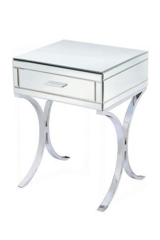 An Image of Aurelia Mirrored & Chrome Bedside Table