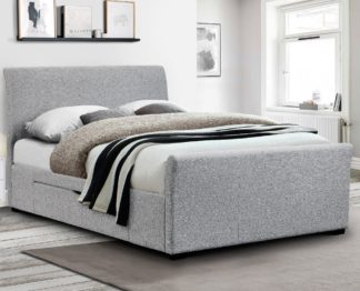 An Image of Capri Light Grey Fabric 2 Drawer Storage Sleigh Bed Frame - 5ft King Size