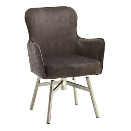 An Image of Hexo Cappuccino Fabric Dining Chair With Brushed Round Frame