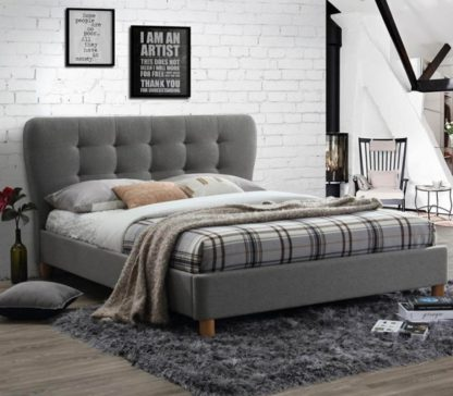 An Image of Stockholm Grey Fabric Bed - 4ft Small Double