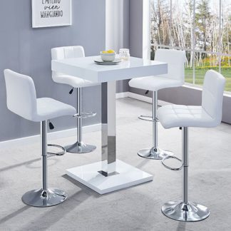 An Image of Topaz White Gloss Bar Table With 4 Coco White Bar Stools