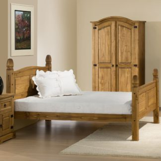 An Image of Corona High Foot End Waxed Solid Pine Wooden Bed Frame - 5ft King Size