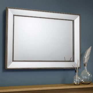 An Image of Symphony Pewter and Glass Rectangular Wall Mirror - 110 cm x 80 cm