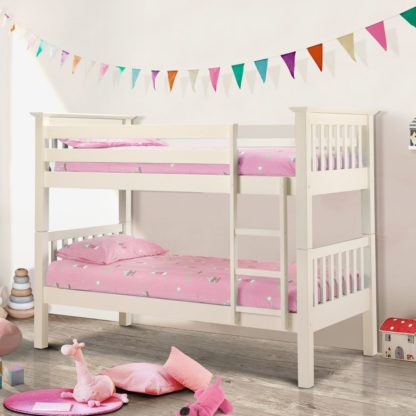 An Image of Barcelona Stone White Finish Solid Pine Wooden Bunk Bed Frame - 3ft Single