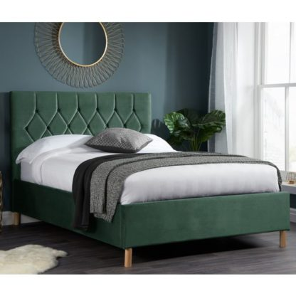An Image of Loxley Fabric Upholstered Double Bed In Green