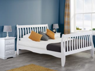 An Image of Belford White Wooden Sleigh Bed Frame - 4ft Small Double