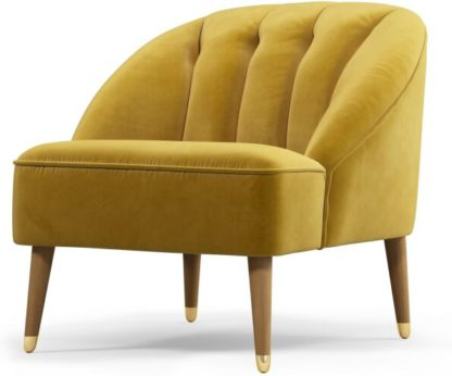 An Image of Custom MADE Margot Accent Armchair, Antique Gold Velvet, Light Wood Brass Leg