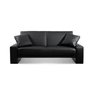 An Image of Supra Black Faux Leather Sofa Bed