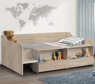 An Image of Stella Oak Wooden Kids Low Sleeper Cabin Storage Bed Frame - 3ft Single