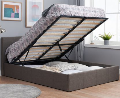 An Image of Berlin Grey Fabric Ottoman Storage Bed Frame - 3ft Single