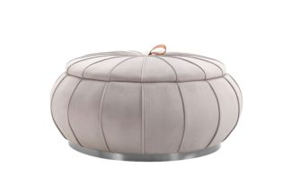 An Image of Pumpkin Storage Ottoman - Dove Grey - Silver Base