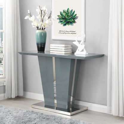 An Image of Memphis Console Table In Grey High Gloss With Glass Top