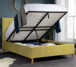 An Image of Loxley Mustard Velvet Fabric Ottoman Storage Bed Frame - 4ft Small Double