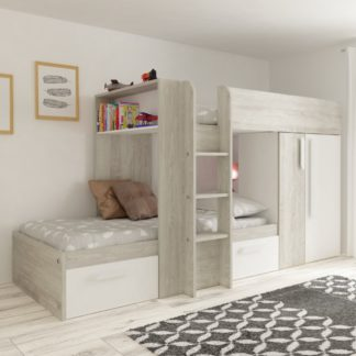 An Image of Barca White and Oak Wooden Bunk Bed Frame - EU Single