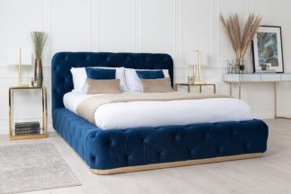 An Image of Frankfurt Storage Bed Royal Blue
