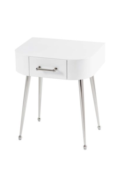 An Image of Mason White Glass Side Table – Shiny Silver Legs