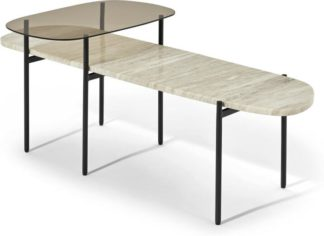 An Image of Tiziana Nesting Coffee Table, Caramel Marble & Amber Glass
