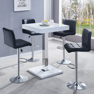 An Image of Topaz White Gloss Bar Table With 4 Coco Black Bar Stools