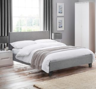 An Image of Rialto Light Grey Fabric Bed Frame - 4ft6 Double