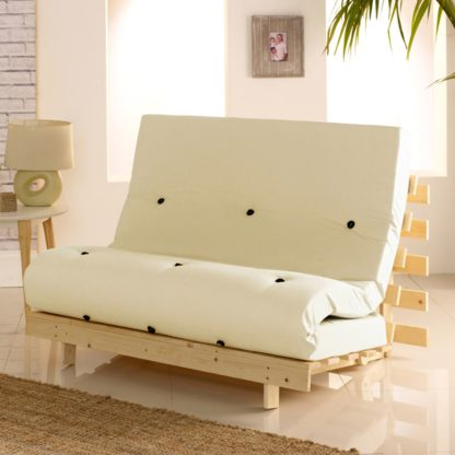 An Image of Metro Pine Wooden 2 Seater Chair/Folding Guest Bed with Cream Futon Mattress - 4ft Small Double