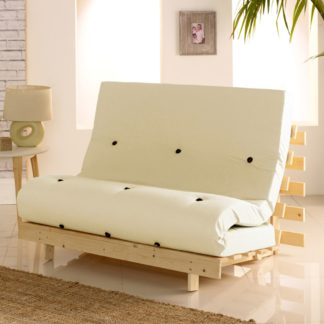 An Image of Metro Cream Cotton Drill Fabric Tufted Futon Mattress - 4ft Small Double