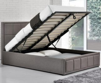 An Image of Hannover Grey Upholstered Fabric Ottoman Storage Bed Frame - 4ft6 Double