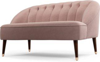 An Image of Custom MADE Margot 2 Seater Sofa, Pink Cotton Velvet, Dark Wood Copper Leg