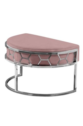 An Image of Alveare Footstool Silver - Blush Pink