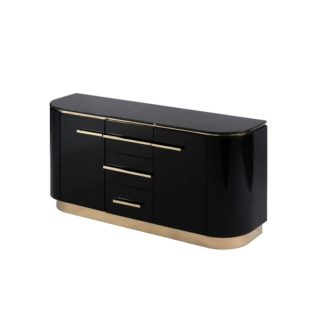 An Image of Anastasia Black Glass Sideboard with Brass Details