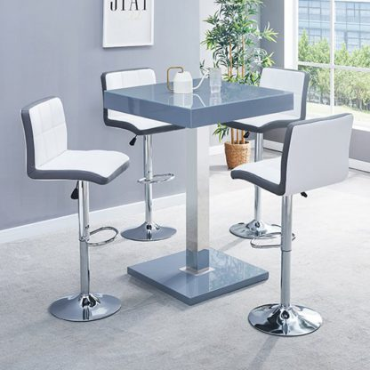 An Image of Topaz Glass Bar Table In Grey With 4 Copez White Grey Stools