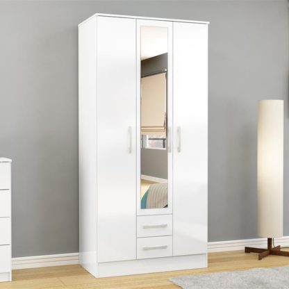 An Image of Lynx 3 Door Combination Mirrored Wardrobe White