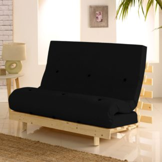 An Image of Metro Pine Wooden 2 Seater Chair/Folding Guest Bed with Black Futon Mattress - 4ft Small Double