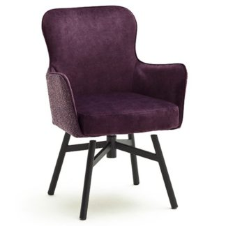 An Image of Hexo Merlot Fabric Dining Chair With Black Round Frame