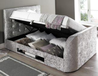 An Image of Barnard Silver Velvet Fabric TV Ottoman Storage Bed Frame - 5ft King Size