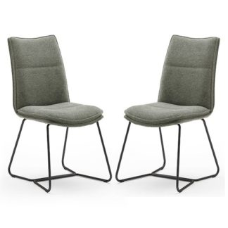 An Image of Ciko Olive Fabric Dining Chairs With Matt Black Legs In Pair