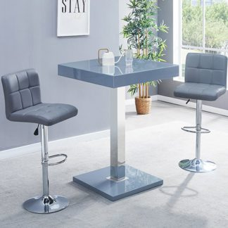 An Image of Topaz Glass Bar Table In Grey Gloss With 2 Coco Grey Stools